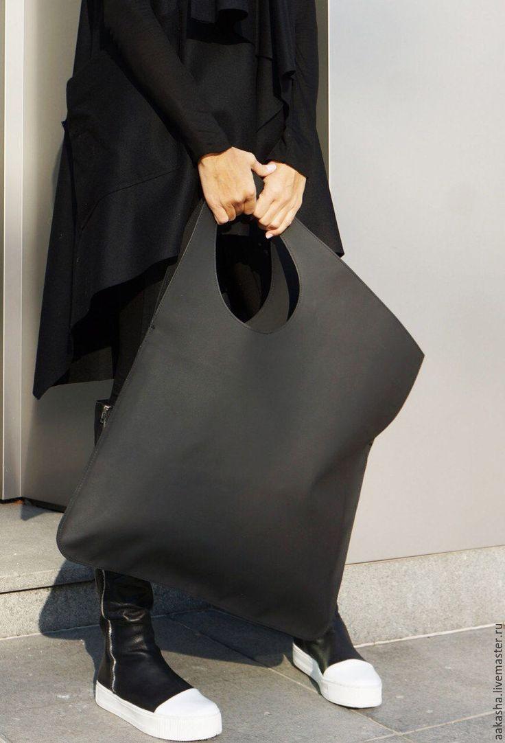 Купить Кожаная сумка Matt Black - черный, сумка, большая сумка, дизайнерская сумка