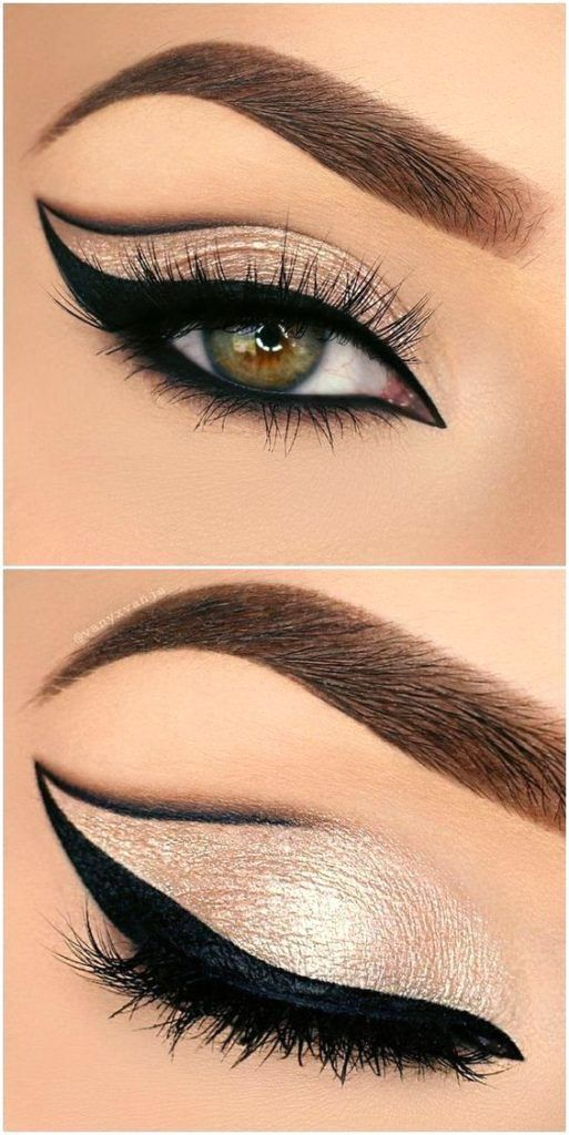 Buttery Almond eye makeup look. Makeup for brow eyes, blue eyes, green eyes and all skin and hair colours. Highlights your eyes. Eyeshadow beauty tutorial for smokey eyes, nude lip with wing eyeliner.