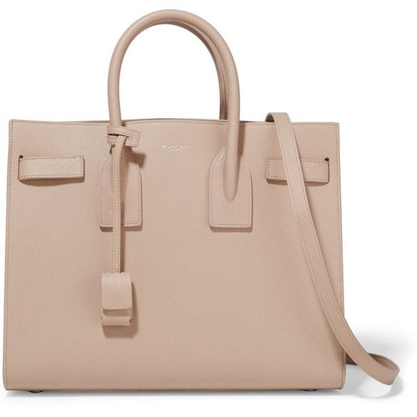 Saint Laurent Sac De Jour small textured-leather tote (10.415 BRL) ❤ liked on Polyvore featuring bags, handbags, tote bags, ysl, saint laurent, neutrals, kiss-lock handbags, top handle purse, top handle handbags and tote purse