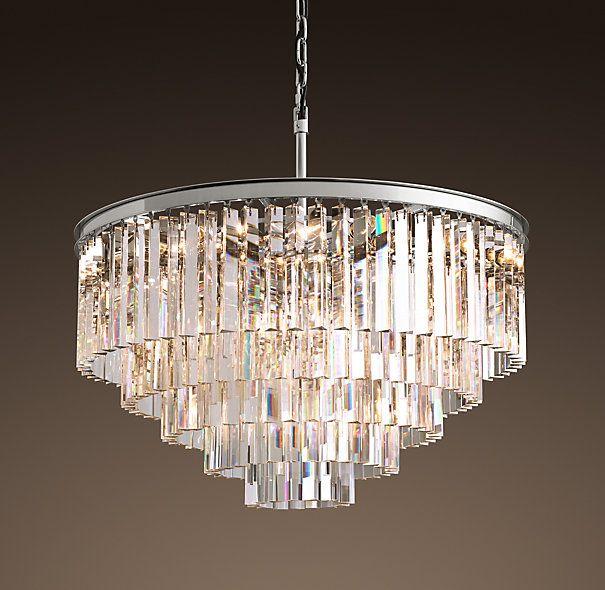 Restoration Hardware Discontinued Lighting: 1920s Odeon Glass Fringe 5-Ring Chandelier Polished Nickel