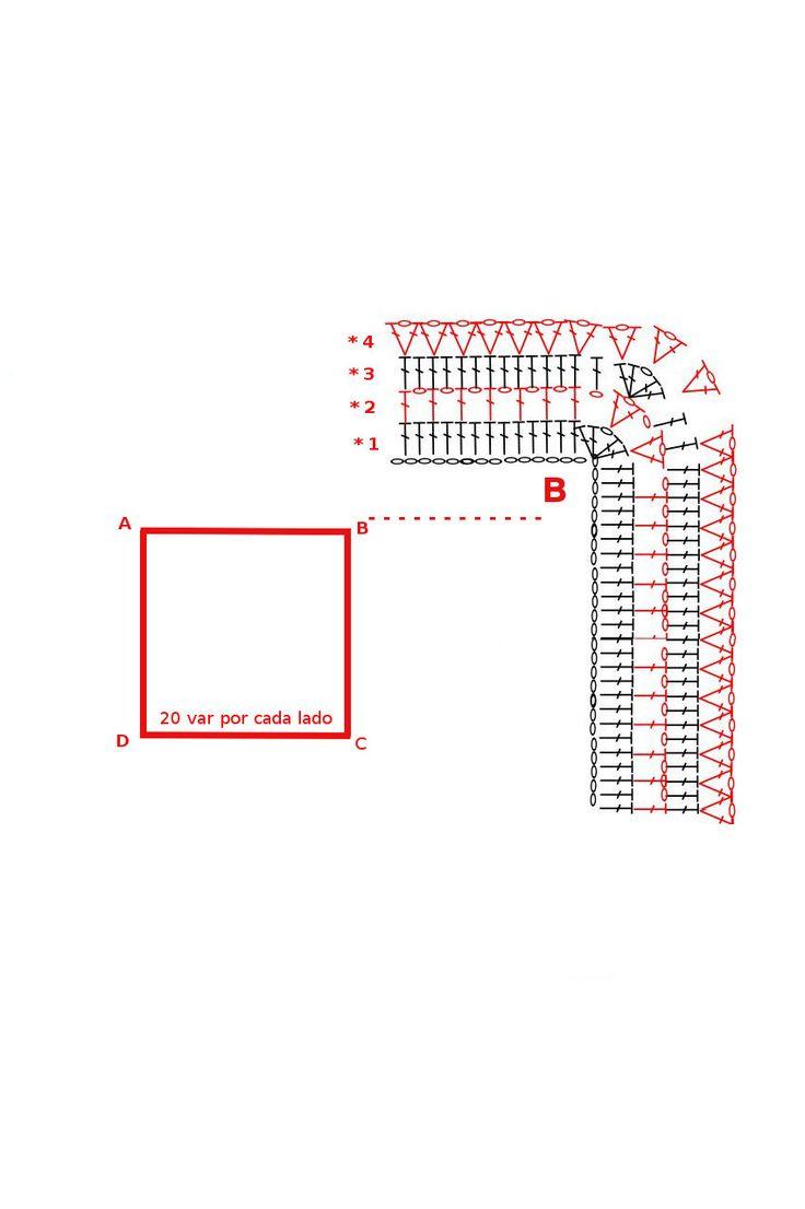 Hoy le muestro como se realiza éste poncho multicolor MATERIALES 7OO grs lana o acrílico grosor medio color matizado. Aguja de crochet N° 4 PUNTO EMPLEADO. Vareta cadena DESARROLLO  Como observamos en el gráfico ésta prenda la comenzamos desde el cuello. Está realizados con varetas, el diseño completo consiste en 4 hileras, luego se repiten hasta obtener el largo deseado.   Vamos a realizar la primer hilera de 70 cms (como ejemplo les puse 20 varetas por cada…