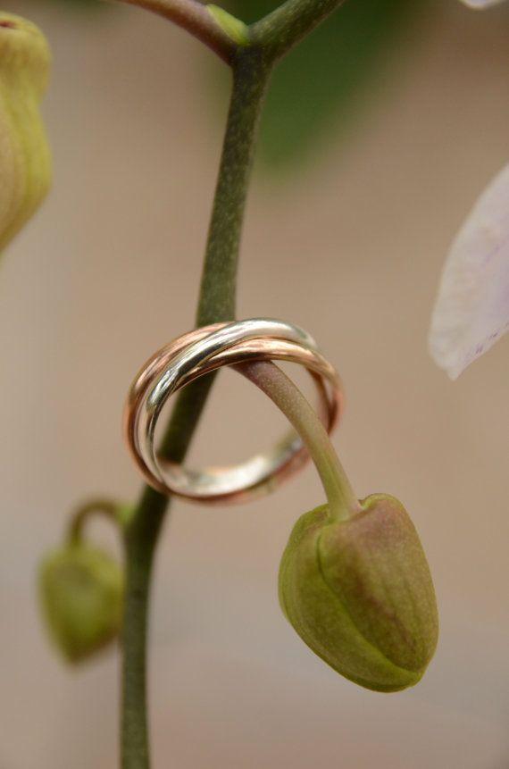 Mixed Metal Russian Wedding Ring Silver Rose by theDandelionBay https://twitter.com/NeilVenketramen