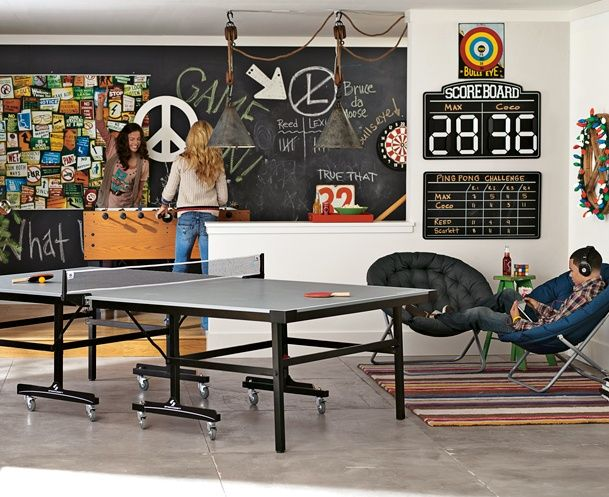 Industrial Game room- chalkboard wall maybe?