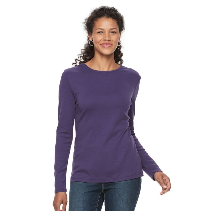 Women's Croft & Barrow® Crewneck Tee, Size: Medium, Purple