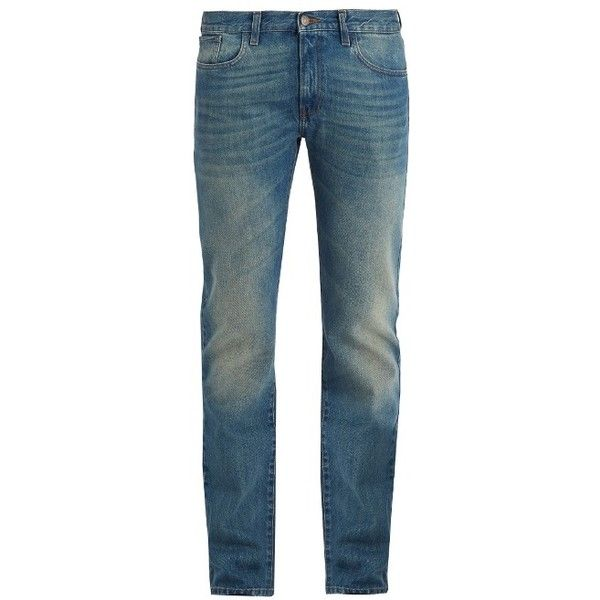 Gucci Mid-rise straight-leg denim jeans ($650) ❤ liked on Polyvore featuring men's fashion, men's clothing, men's jeans, blue, mens slim fit jeans, mens frayed hem jeans, mens faded jeans, mens blue jeans and mens vintage jeans