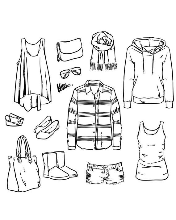 80 Off Sale Modern Accessories Woman Outline Clipart Commercial Use Vector Graphics Digital Clip Art Digital Images Eps Jpg Drawing Clothes Modern Accessories Clothing Sketches