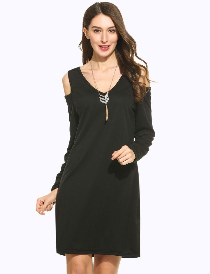 Gray Womens V-Neck Cold Shoulder Long Sleeve Side Slit Casual Loose Shift Dress