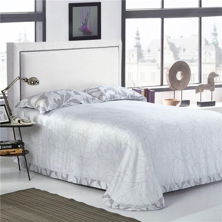 Gray Leaves Print Soft and Luxurious Tencel Bedding Set. #duvet covers #master bedroom #cheap duvet #soft duvet  #rustic duvet #vintage duvet #boho duvet #romantic duvet #modern duvet #queen duvet #king duvet