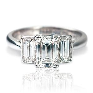 Emerald Cut Wedding Ring Set 23 Luxury Delicate bezel set engagement