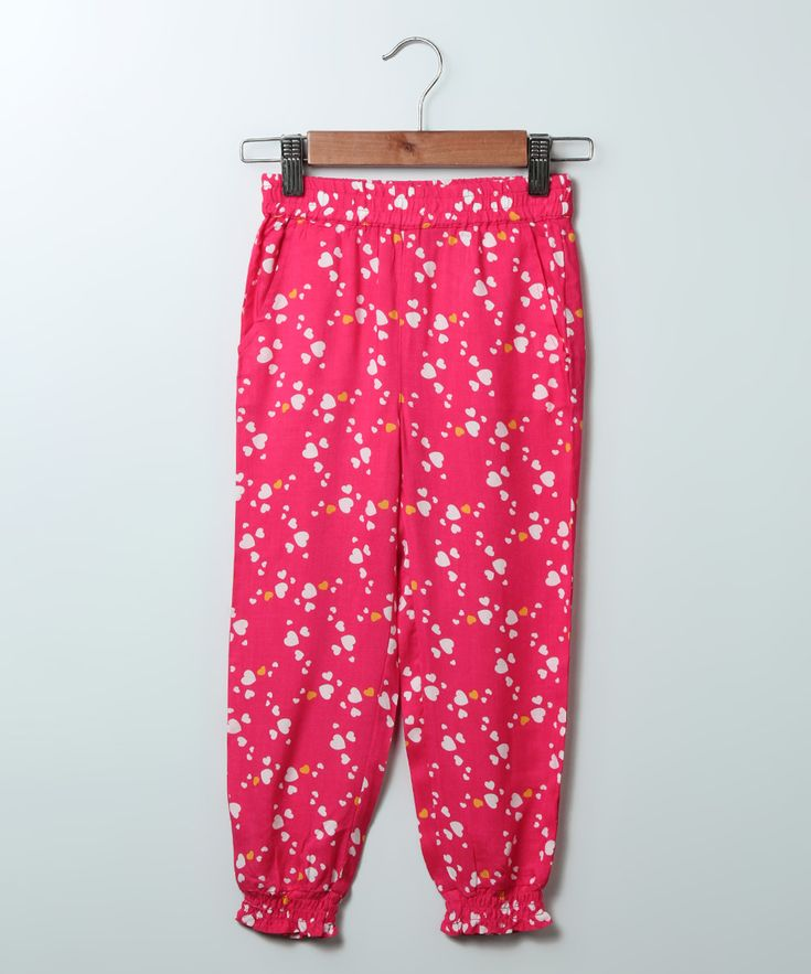 Pink Heart Harem Pants - Girls