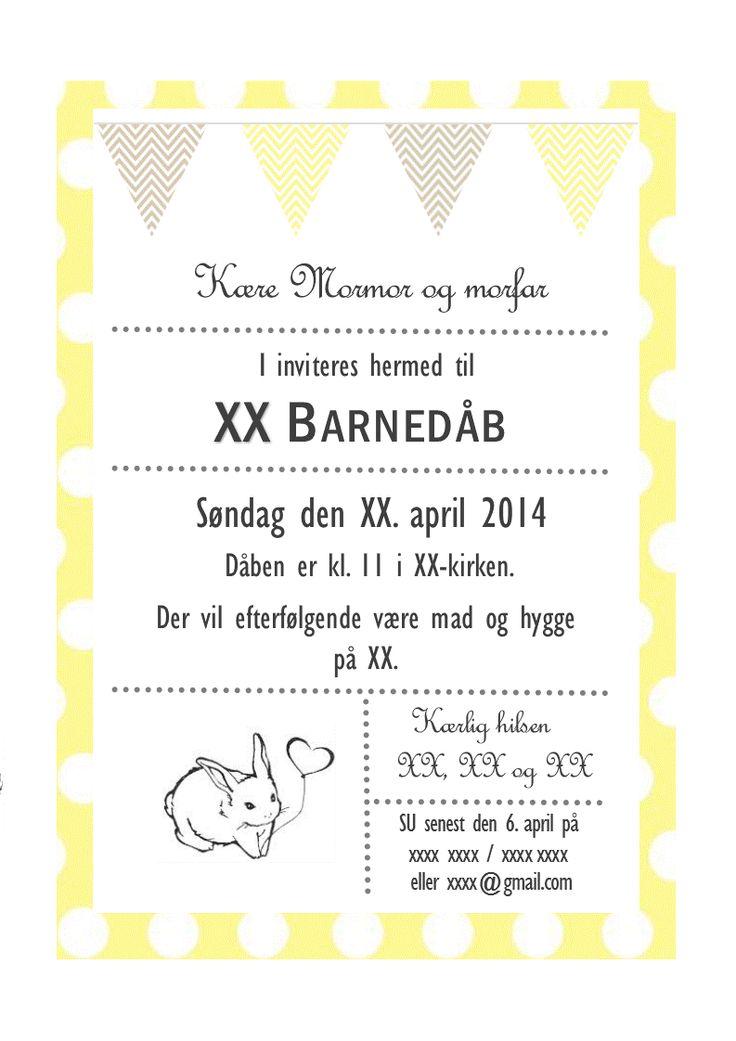 invitation barnedåb påske