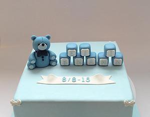 Teddy bear blue cake with blocks. Baptism, dåbsdage