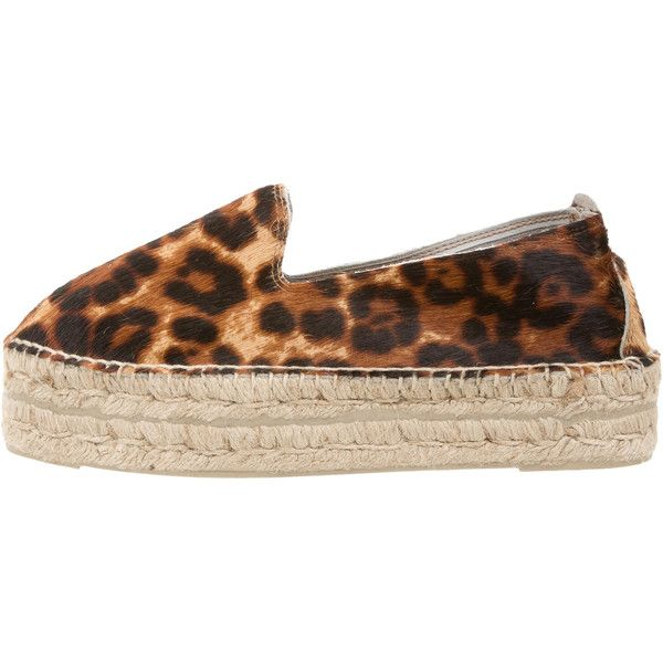 Pre-owned Manebi Leopard Print Flatform Espadrilles ($70) ❤ liked on Polyvore featuring shoes, sandals, animal print, espadrille flats, leopard espadrilles, espadrille sandals, woven sandals and flat shoes