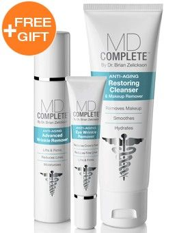 MD Complete's Wrinkle Remover Kit (includes 90-day supplies of the Restoring Cleanser, Eye Wrinkle Remover & Advanced Wrinkle Remover + Free gift) is a fast-acting skincare system that reduces the appearance of fine lines & wrinkles, lifts & firms skin, and evens skin tone & texture for a smoother, more supple and more youthful-looking complexion. Save 15% with auto-replenishment.  #Wrinkles #AntiAging #EyeCream #Skincare #Deals #DealsandSteals #MDComplete #MDCompleteSkin #FreeGift