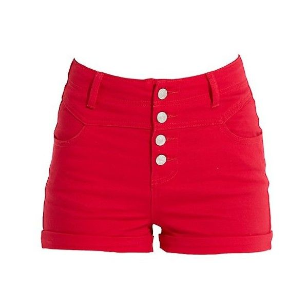 Red high waisted shorts. | Fashion | Pinterest