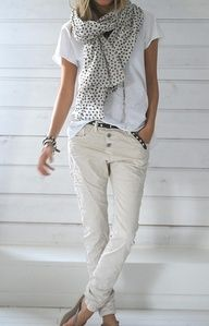 The scarf makes this neutral outfit.