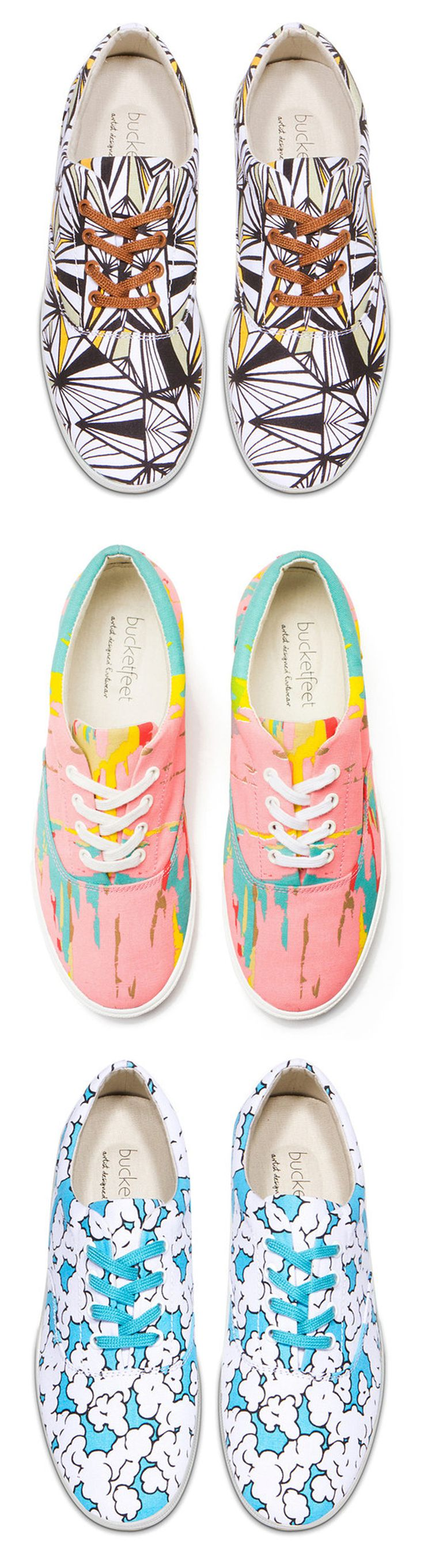 Fun, Patterned Sneakers! Bucketfeet Sneakers, with fabrics prints by various artists.