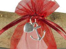 10 Gastgeschenk Hochzeit  Organzasäckchen rot