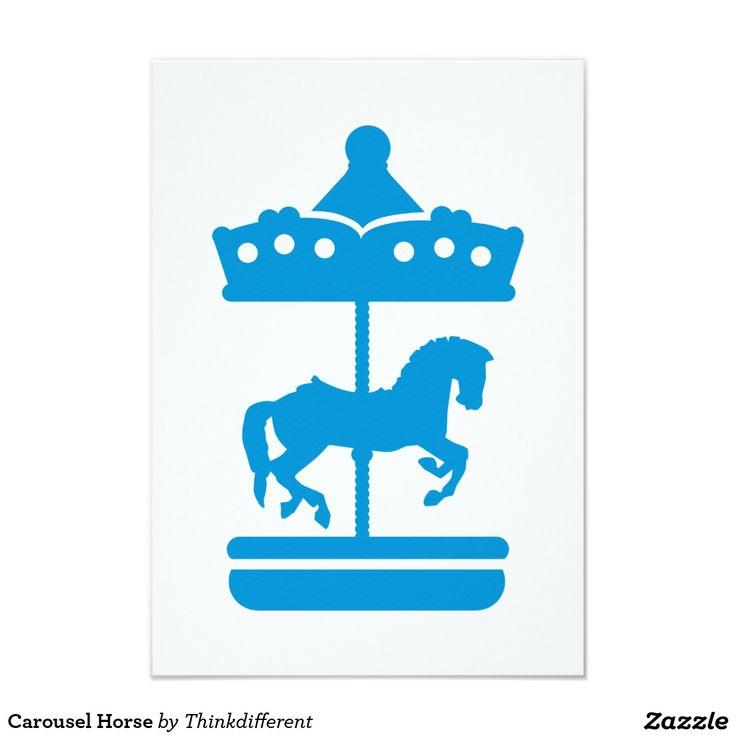 Cheval de carrousel carton d'invitation 8,89 cm x 12,70 cm