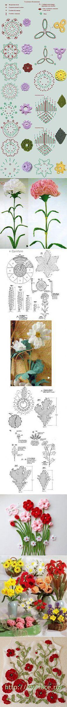 вязаные цветы | вязание:бижутерия | Pinterest | Crochet
