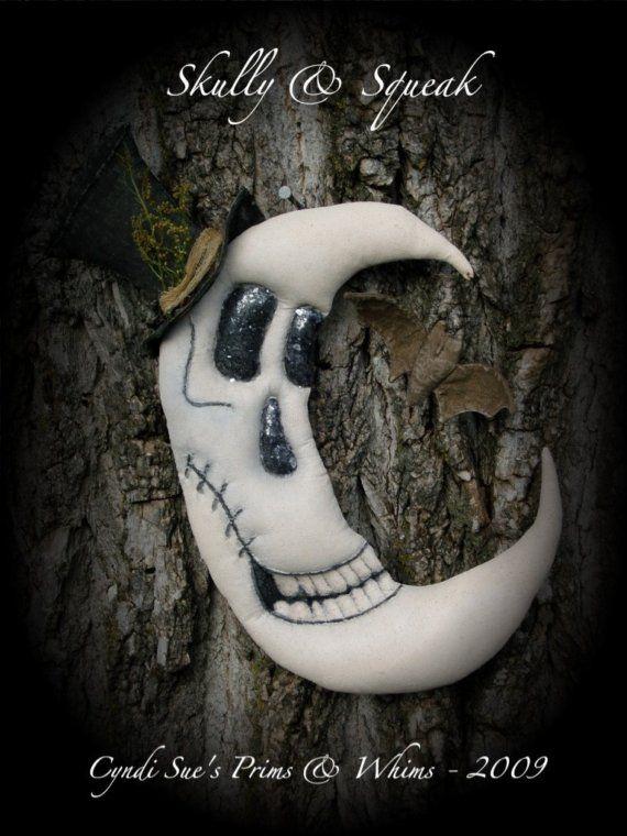 Primitive Halloween Skeleton Moon w\/ Bat Door Doll PATTERN via Etsy