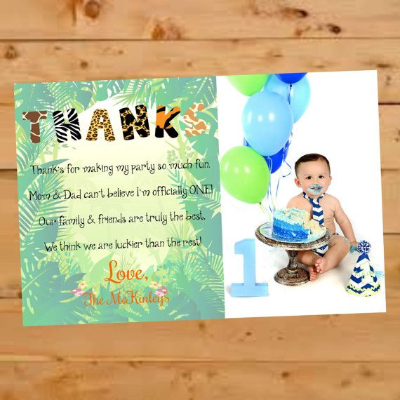 Birthday Thank You Card Jungle Themed Thank You Card