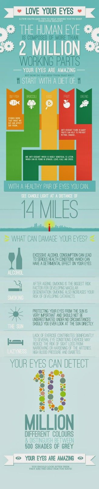 The best remedy is prevention.  Lifestyle and diet facts and tips to protect eyesight and for healthy eyes.  Infographic