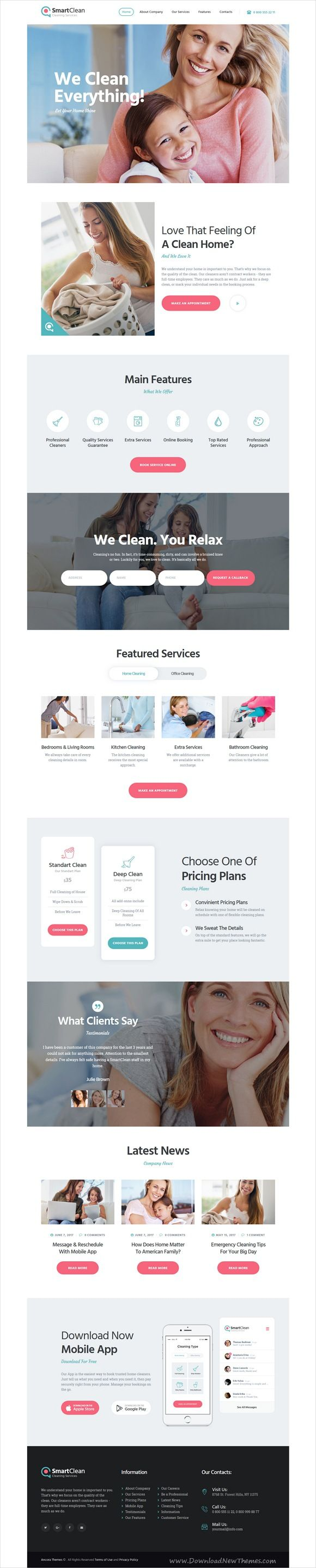 SmartClean is clean and modern design 4in1 responsive #WordPress theme for #cleaning, maid, #janitorial and maintenance service company website download now..