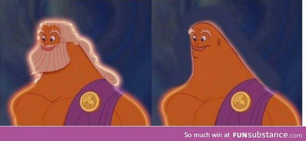Zeus before and after shave