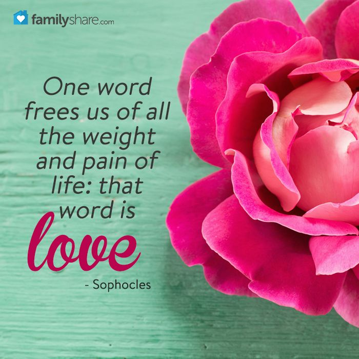One word frees us of all the weight and pain of life: that word is LOVE. - Sophocles