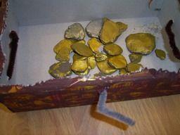 www.jufjanneke.nl | Schatkist met goud en zilver. De munten zijn van klei.