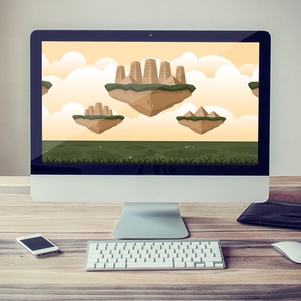Sand flying city game background for game developers