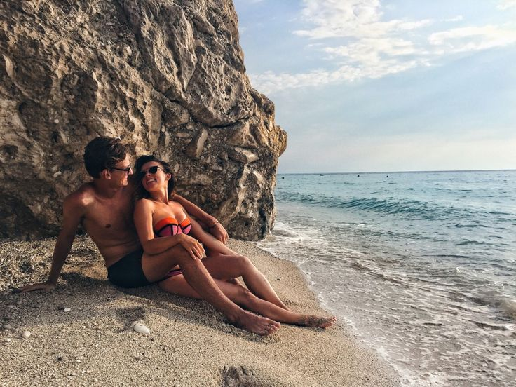 couple travelling together Kathisma Beach Lefkada Greece