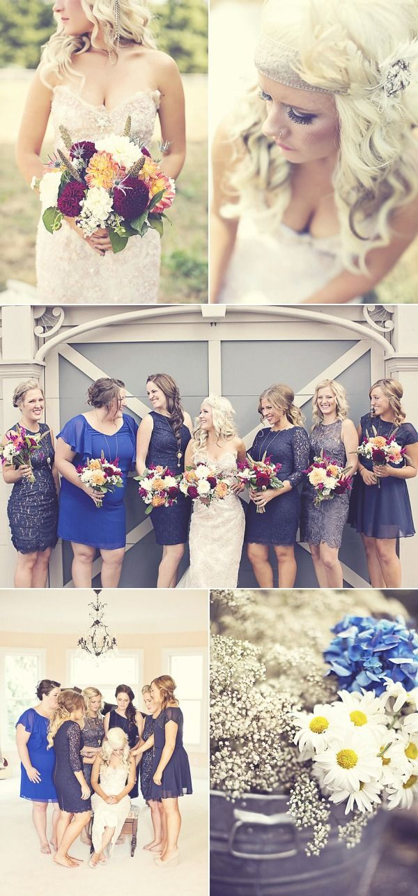 Lovely blue bridesmaid dresses, mismatched