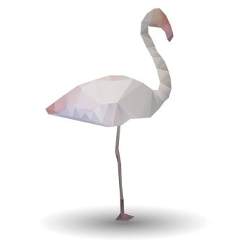 Illustration of abstract flamingo in origami style on white background