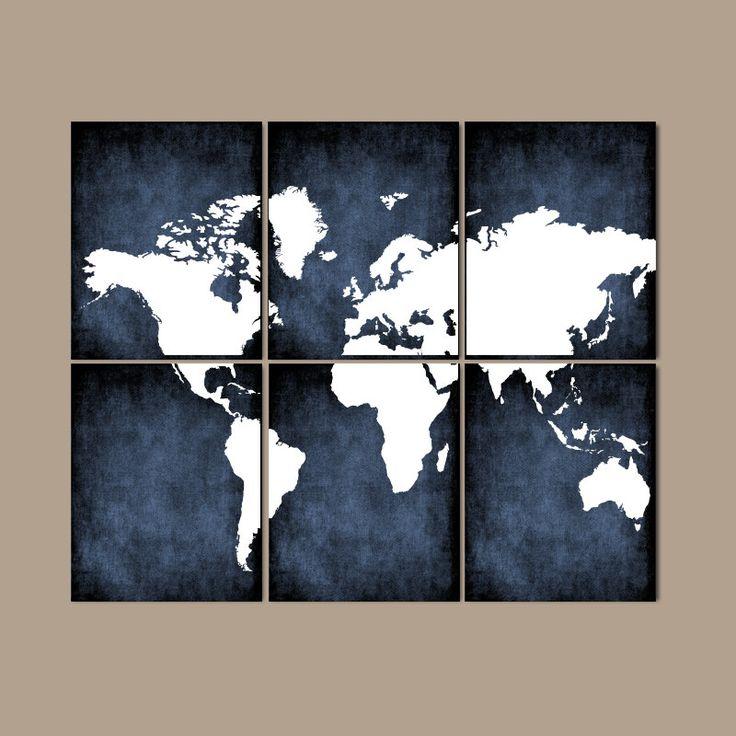 WORLD MAP Wall Art, CANVAS or Prints Map Bedroom Artwork, Grunge Custom Colors…