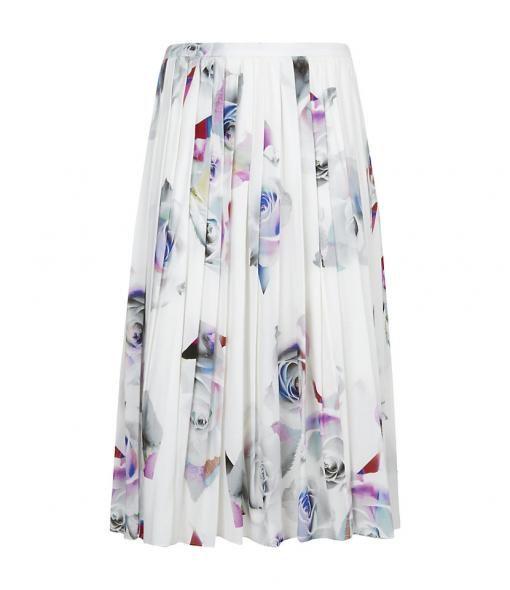 Rose Shard Pleated Midi Skirt