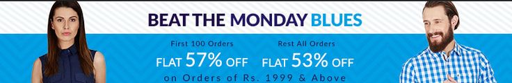 #MondayBlues : #Flat 57% Off On #Clothing & #Footwear. #Buy and grab flat 57% #discount on actual #product #price. Products like #Jackets, #Pullovers, #Trousers, #Tees, #Dresses, #Sandals, #Heels, #Slippers and many more. Get 57% off for first 100 orders on purchasing worth of Rs. 1999/- and above, 53% off for rest all #orders. To get #couponcode and exciting #updated #offer of #Americanswan please visit our site(click on the image to get offers page).