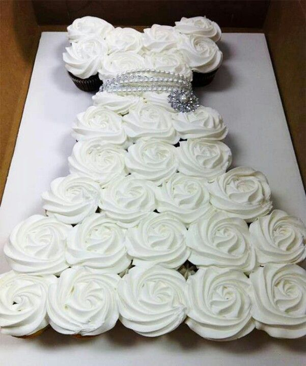 Wedding dress cupcake pull apart cake. For the bride to be.