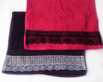 Black Hand Face Towel set, Red Hand Towel, Bathroom decor, decorative towels, Gift for Her, Housewarming Gift for new home owners by blingscarves. Explore more products on http://blingscarves.etsy.com