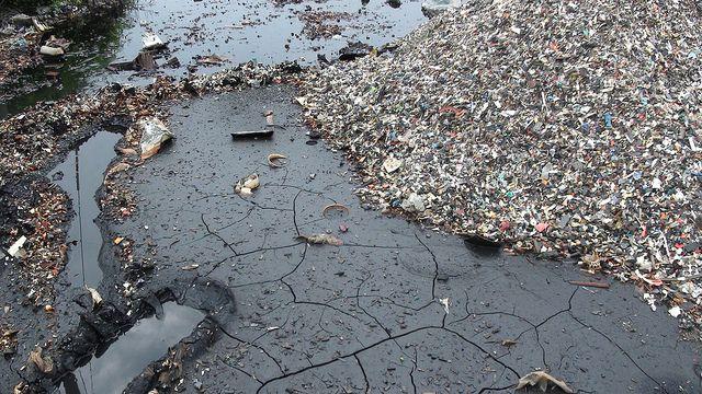 Waste toner cartridge sludge from shredding operation. Guiyu, China.