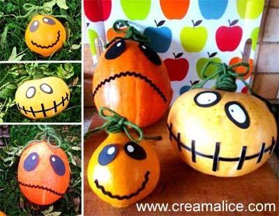 citrouille décorée  Halloween  Pinterest