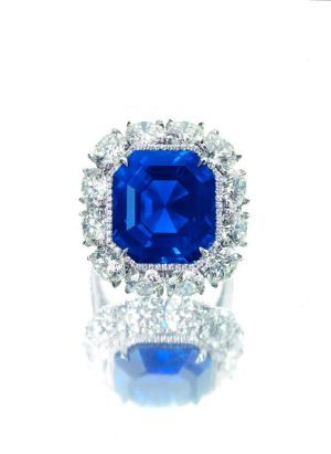 17.16 ct. step-cut unheated Kashmir sapphire and diamond ring fetched $236,404 a carat ($4.5 million total)