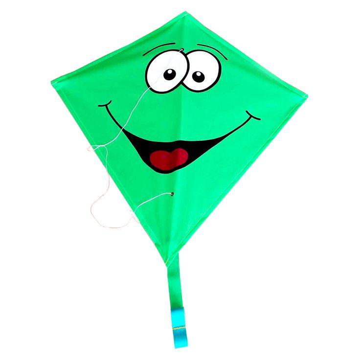 Eenvoudig voor kinderen hanteerbare Rhombus stuntkite met grappige smiley opdruk. Inclusief ringen en vliegerlijn. Geschikt voor windkracht 2 tot 4. Afmeting: 65 x 65 cm - Rhombus Vlieger Diamond Smiley - Groen