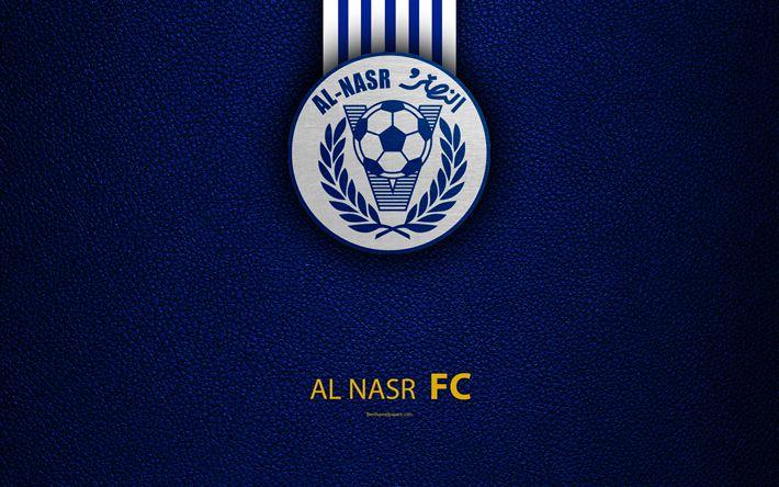 Download wallpapers Al-Nasr Dubai SC, 4K, logo, football club, leather texture, Al-Nasr FC, UAE League, Dubai, United Arab Emirates, football, Arabian Gulf League