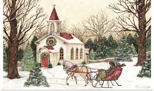 Christmas Church Christmas Scenery Church Wall Art Christmas Church