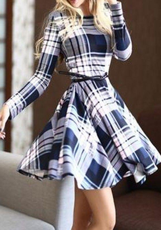 Blue Striped Print Long Sleeve Fashion Cotton Mini Dress