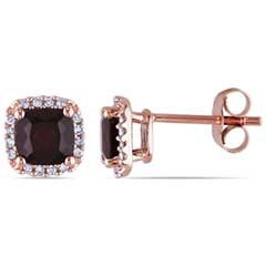 5.0mm Cushion-Cut Garnet and 0.09 CT. T.W. Diamond Stud Earrings in 10K Rose Gold  - Peoples Jewellers