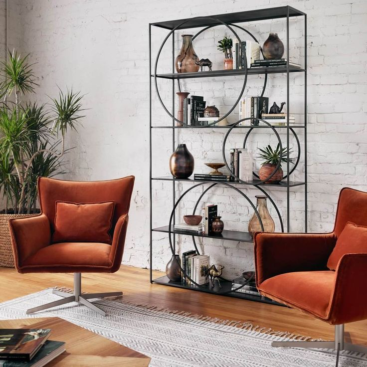 Danny Industrial Loft Geometric 5 Shelf Metal Bookcase