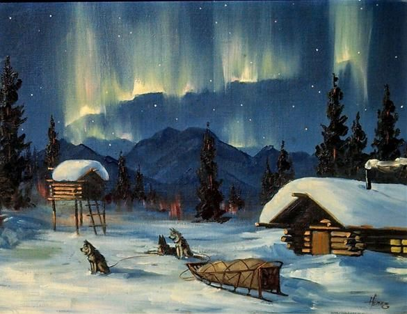 Ellen Henne Goodale Alaskan Artist dog sleds sled dogs Northern Lights Aurora Borealis Starry night Anchorage painter painting oil on canvas Starry Night, Northern Lights